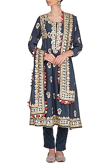 Charcoal Grey Embroidered Kurta Set by Nysa & Shubhangi