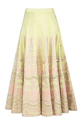 Mint Green Embroidered Flared Lehenga Skirt by Nysa & Shubhangi