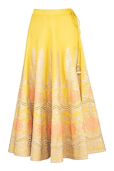 Mustard Embroidered Lehenga Skirt by Nysa & Shubhangi