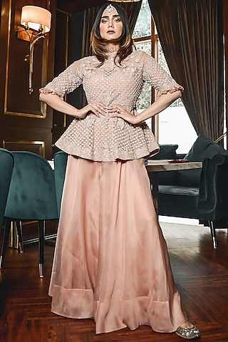 Blush Pink Embroidered Peplum Top With Pants by Ose by Jyoti Gupta