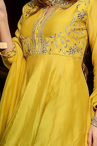 Yellow Embroidered Sharara Set by Ose by Jyoti Gupta