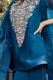 Sky Blue Hand Embroidered Cape Set by Ose by Jyoti Gupta