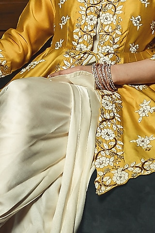 Yellow & Off White Embroidered Dhoti Set by Ose by Jyoti Gupta