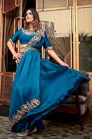 Blue Embroidered Blouse With Pants & Belt by Ose by Jyoti Gupta