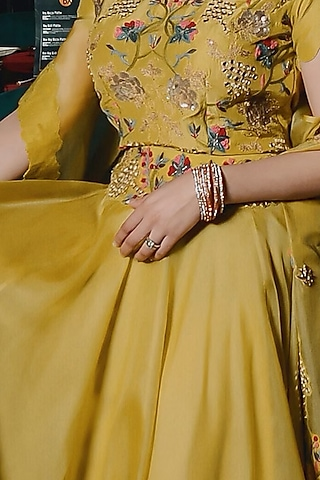 Lime Yellow Hand Embroidered Jacket Set by Ose by Jyoti Gupta