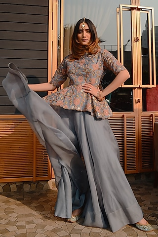 Grey Hand Embroidered Peplum Top With Pants by Ose by Jyoti Gupta