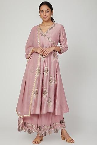 Lilac Pink Embroidered Angrakha Kurta Set by Ose by Jyoti Gupta