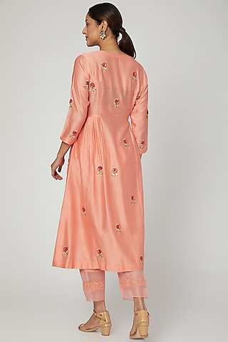 Orange Embroidered Kurta Set by Ose by Jyoti Gupta