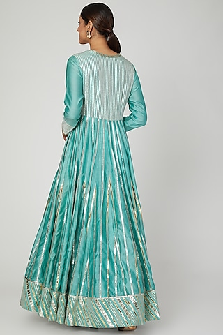 Turquoise Blue Embroidered Anarkali Set by Ose by Jyoti Gupta