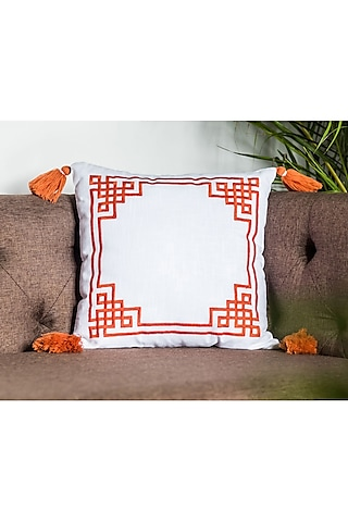 Off White Embroidered Cushion Covers With Tassels (Set of 2) by Ode and Cleo