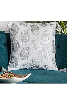 White & Silver Printed Cushion Covers With Tassels (Set of 2) by Ode and Cleo