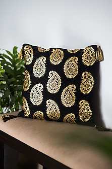 Black & Gold Cushion Covers With Tassels (Set of 2) by Ode and Cleo