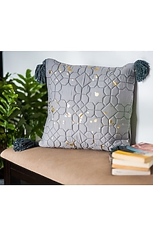 Grey & Gold Quilted Cushion Covers (Set of 2) by Ode and Cleo