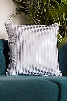 White & Silver Printed Cushion Covers (Set of 2) by Ode and Cleo