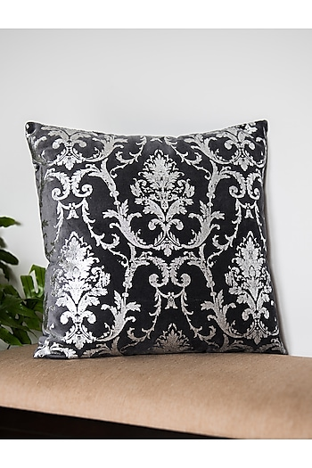 Grey & Silver Printed Cushion Covers (Set of 2) by Ode and Cleo