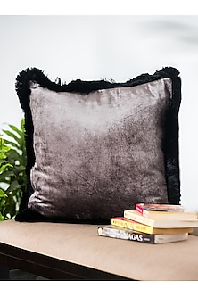 Grey Viscose Velvet Cushion Covers (Set of 2) by Ode and Cleo
