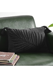 Black Embroidered Cushion Covers With Tassels (Set of 2) by Ode and Cleo