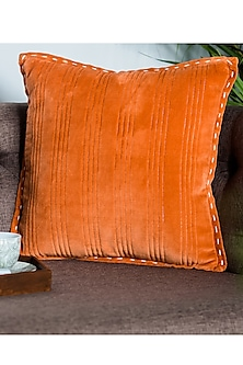 Orange Striped Cushion Covers (Set of 2) by Ode and Cleo