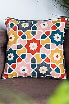 Orange & Blue Patterned Cushion Covers (Set of 2) by Ode and Cleo