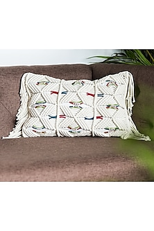 White Cushion Covers With Knitted Panel (Set of 2) by Ode and Cleo
