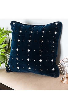 Blue & Silver Cross Stitched Cushion Covers (Set of 2) by Ode and Cleo
