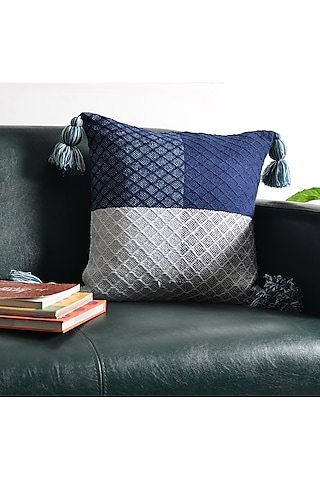 White & Blue Printed Cushion Covers (Set of 2) by Ode and Cleo