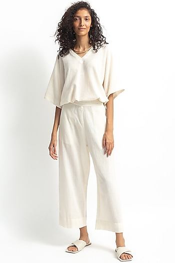 White Embroidered Straight Pants Set by OFrida