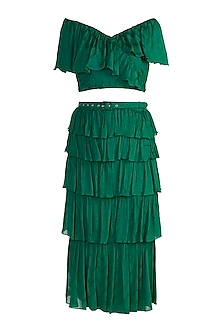 Jungle Green Frill Crop Top With Tiered Skirt by Ohaila Khan