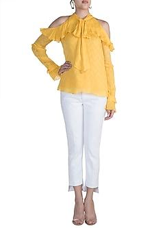 Mango Yellow Ruffled Cold Shoulder Top by Ohaila Khan