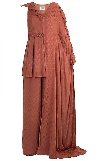 Rust Kaftan Peplum Top With Pants by Ohaila Khan