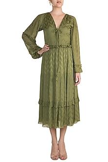 Olive Green Bohemian Midi Dress by Ohaila Khan