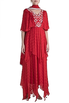 Red & Mint Embroidered Indo-Russian Tiered Gown With Dupatta by Ohaila Khan