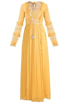 Mango Yellow Anarkali Gown With Dupatta by Ohaila Khan