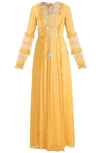 Mango Yellow Anarkali Gown With Dupatta by Ohaila Khan
