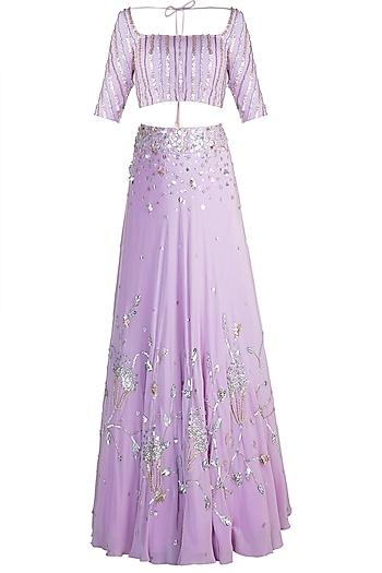 Lilac Chevron Lehenga Set by Ohaila Khan