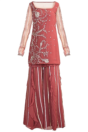 Red Chevron Kurta Set by Ohaila Khan