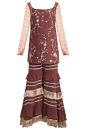 Maroon Chevron Kurta Set by Ohaila Khan