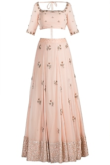 Nude Chevron Lehenga Set by Ohaila Khan