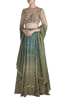 Moss Green Chevron Lehenga Set by Ohaila Khan