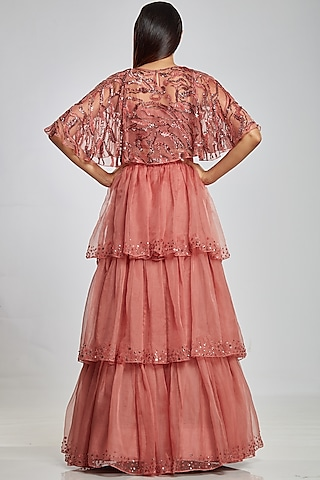 Rose Pink Cape With Inner by Ohaila Khan