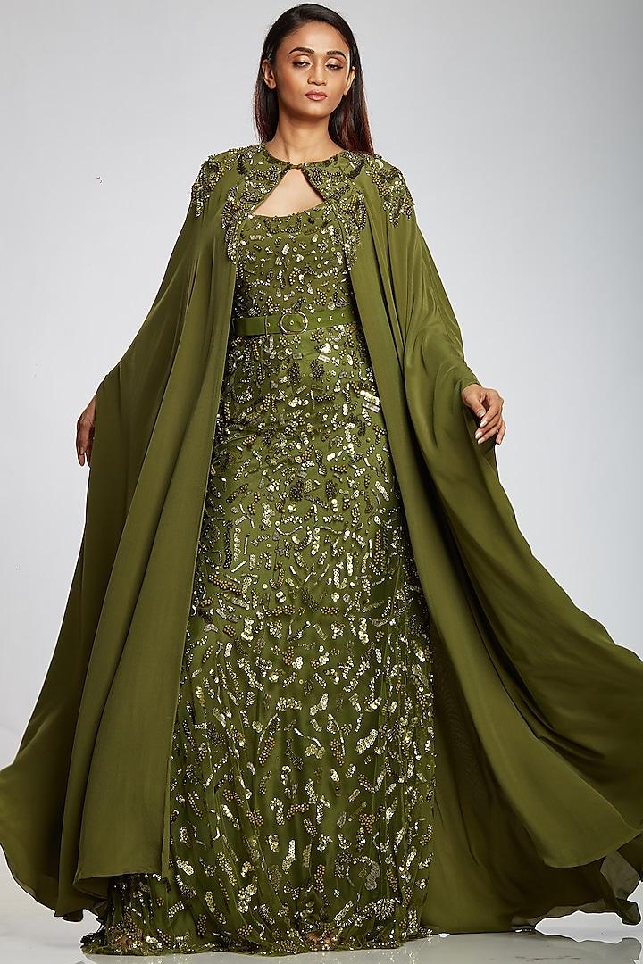 Lizard Green Kaftan Cape by Ohaila Khan
