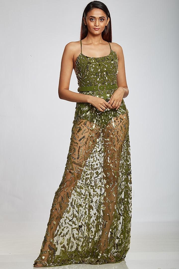 Lizard Green Art Raw Silk Gown by Ohaila Khan