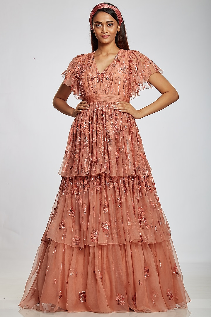 Blush Pink Tiered Gown by Ohaila Khan