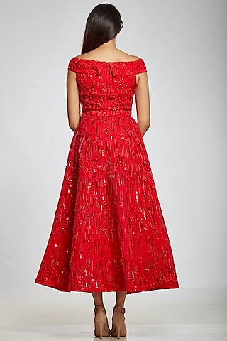 Red Off Shoulder Gown by Ohaila Khan