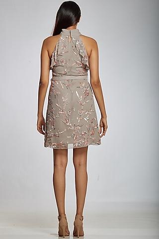 Grey Art Georgette Mini Dress by Ohaila Khan