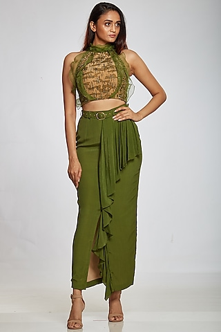 Lizard Green Crepe Skirt by Ohaila Khan