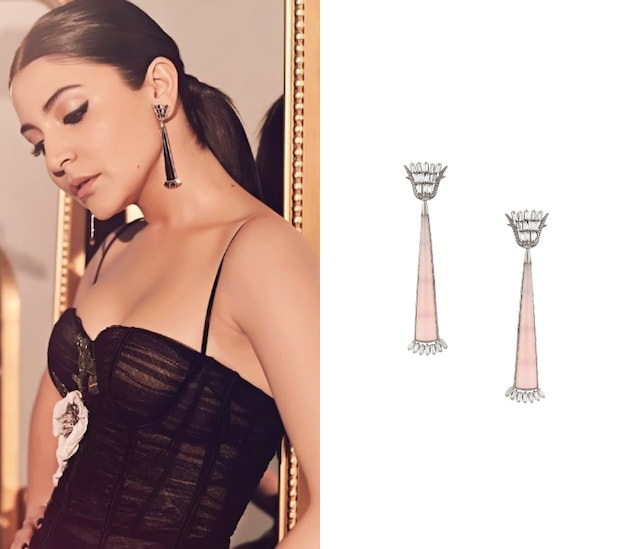Gunmetal Plated Pink Onyx and Crystal Earrings by Outhouse