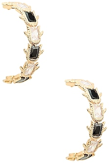 Rose Gold Plated Emerald Crystal Hoop Earrings by Outhouse