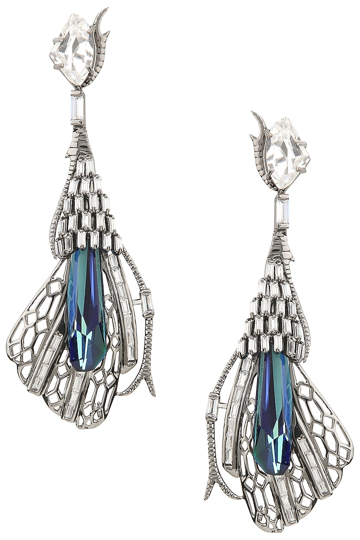 Gunmetal Plated Pinion Wing Shaped Earrings by Outhouse