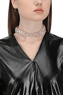 Rose Gold Plated Crystal Choker Necklace by Outhouse